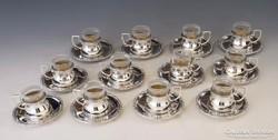 Ezüst 12 személyes századfordulós kávéskészlet