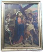 Német festő művei, 1800-as évek elejéről. Ónlemez, olaj
