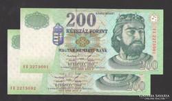"""200 forint 1998. """"FE"""" ! 2 db sorszám követő! UNC !"""