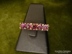 Arany gallértű rózsaszín gránáttal és gyémántokkal