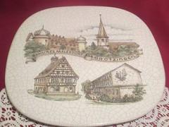 Most olcsóbban! Gyönyörű repesztett mázas kerámia tortás tál 30 cm 1701/7