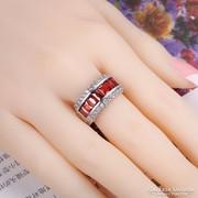 Piros köves gyűrű 9-es ÚJ!