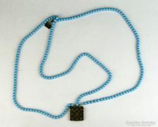 0K524 Antik háromsoros régi női nyaklánc nyakék