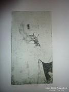 Leleszi Ilona: Pillangó, 1986 számozott, jelzett rézkarc