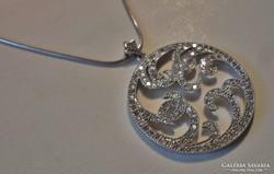 Különleges art deco köves ezüstnyakék