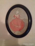 Antik gobelin kép (1 db nő alak és 1 db férfi alak: együtt )