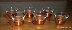 Hőálló kávés készlet külső réz / fa tartóval