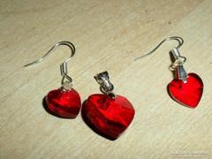 Rubintos Szív 18 K medál és fülbevaló Szett