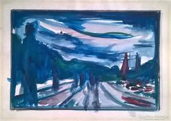 Alkonyat - akvarell
