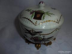 Antik kézzel festett madaras bonbonier/cukortartó