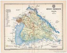Moson vármegye térkép 1897, antik, eredeti