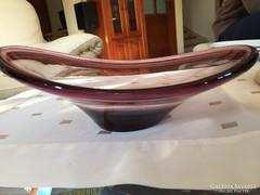 Halványlila művészi üveg tál, kínáló, asztalközép (94)