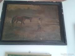 Olaj vászon szignós festmény 57x 77cm korának megfelelő