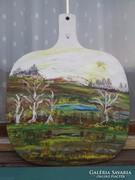 Különleges olajfestmény jelzett fára festve.