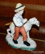 Kisfiú kutyával - jelzett porcelán szobor