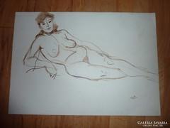 Akt kétoldalas, vidám-szomorú, akvarell ,j.n.