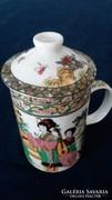 Kínai gyönyörű szűrős, fedeles,bögre, csésze