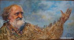 Volkov Mihail - Elvándorlás 40X75 cm olaj festmény