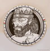 Szent Istvánt ábrázoló hollóházi falitál