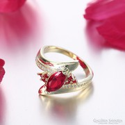Piros cirkónia köves gyűrű 8-as ÚJ