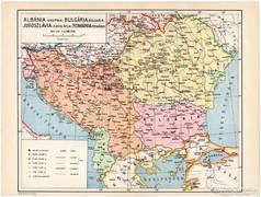 Albánia, Bulgária, Jugoszlávia, Románia térkép 1935