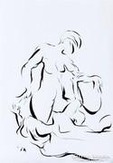Gésák erotikus sorozat, tus, papír, 50x30, kortárs grafika