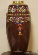 38 cm-s szecessziós kézifestett porcelán váza