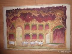Díszletterv páholyokkal burgundi vörösben, régi akvarell