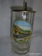 Karlsbadi fedeles emlék korsó csiszolt üvegből