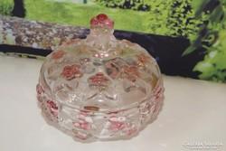 Német üveg ponbonier dombormintás virágos  Carmen