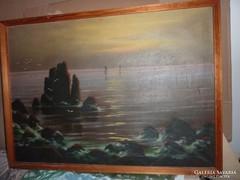 Kőrösy Balogh: Sziklás tengerpart naplementében, olaj-vászon