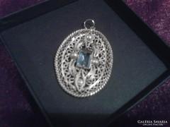 Antik filigran ezüstözött nagyméretű medál