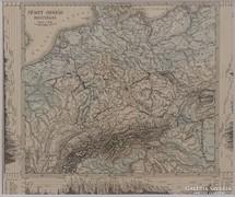 0L355 Antik acélmetszet térkép NÉMETORSZÁG