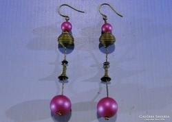 0A464 Divatos rózsaszín bizsu fülbevaló függő pár
