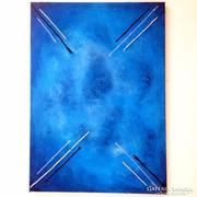 ÚJ! Kézzel festett absztrakt festmény galaxy kék alapon