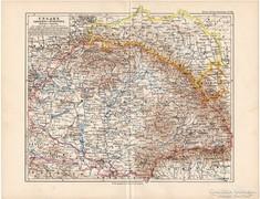 Magyarország térkép 1892, eredeti, régi, német és magyar