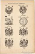 A főbb államok címerei, egyszín nyomat 1892, eredeti