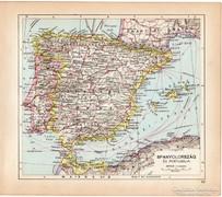 Spanyolország és Portugália térkép 1929, színes,régi