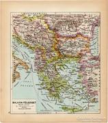 Balkán félsziget térkép 1929, magyar nyelvű, régi