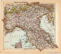 Észak - Olaszország térkép 1929, magyar nyelvű, régi