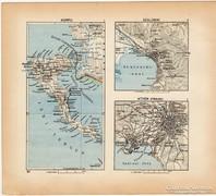 Mini térképek 1929, Korfu, Szaloniki, Athén térkép