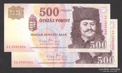 """500 forint 2007. """"EA"""". 2 db sorszám köv.! UNC !"""