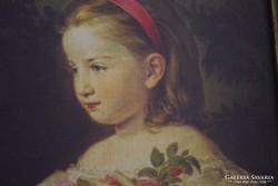Kislány portré, nyomat + keret