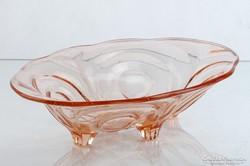 0L205 Régi rózsaszín üveg gyümölcskínáló tál
