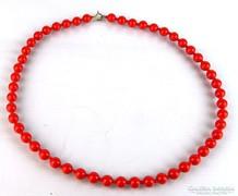 0L405 Régi piros női nyaklánc gyöngysor 60 cm