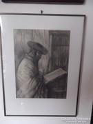 3db Judaika témájú kép Rabbi,  Baráth József szignált