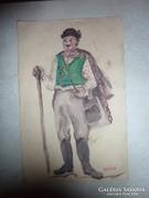 Balga a Csongor és Tündéből, régi akvarell, jelmezterv