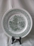 Zöld színű,tájképes tányér 25,5 cm.