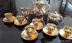 Aranyozott porcelán kávéskészlet 15db-os