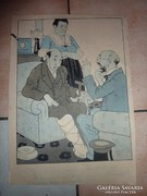 Az orvos tanácsa -humoros régi szita- vagy linómetszet? j.n.